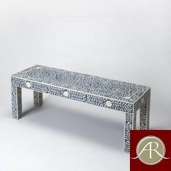Bone Inlay Handmade Antique Home Decor Furniture Bench