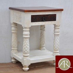Antique Reclaimed Rustic Wood 4 Carved Legs bedside, End-Side Table Nightstand