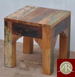 Handmade Solid Reclaimed Rustic Wood Side End Table-Stool