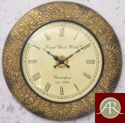 "18"" Antique Brass Clock Handcrafted Wall Clock Metal wall clock"