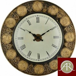 "18"" Antique Brass Clock Handcrafted Wall Clock Metal wall clock Decorative Wooden Wall Clock"