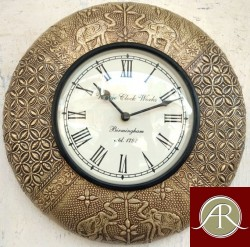 "12"" Antique Brass Clock Handcrafted Wall Clock"