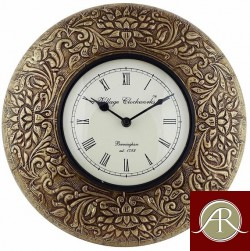 "12"" Antique Brass Clock Metal wall clock Decorative Wooden Wall Clock"