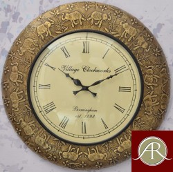 "18"" Antique Brass Clock Handcrafted Wall Clock/Metal wall clock/Decorative Wooden Wall Clock"