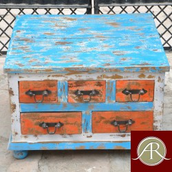 Antique Distressed Finished Reclaimed rustic Wood 5 Drawer-Storage Trunk
