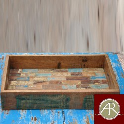 Reclaimed Rustic Burn Wood Solid Multi Color Serving Tray Restaurant, Bar -Home Furniture