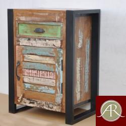 Handmade Solid Reclaimed Rustic Wood Metal Bedside End Table-Nightstand