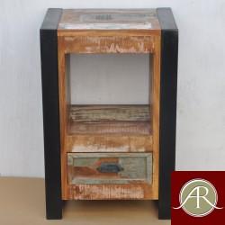 Handmade Solid Reclaimed Rustic Burn Wood Metal Bedside  End Table-Nightstand