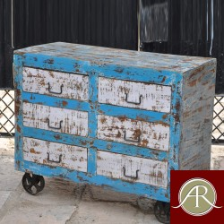 Antique Handmade Distressed Finished 6 Drawer with metal wheels Dresser- Sideboard