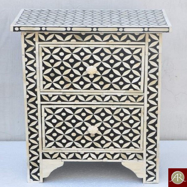Handmade Mother of Pearl Inlay Wooden Bedside Furniture