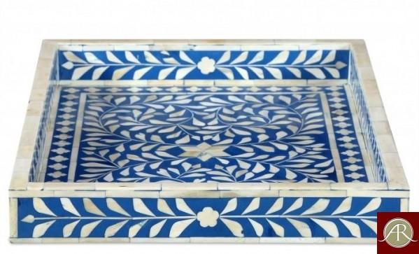 Bone Inlay Wooden Modern Antique Handmade Serving Tray