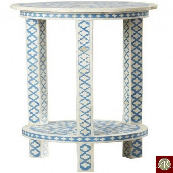 Handmade Bone Inlay Wooden End Table Furniture.