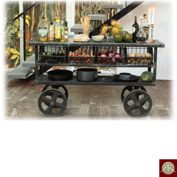 Rustic Solid Reclaimed Wooden Modern Antique Handmade Trolley