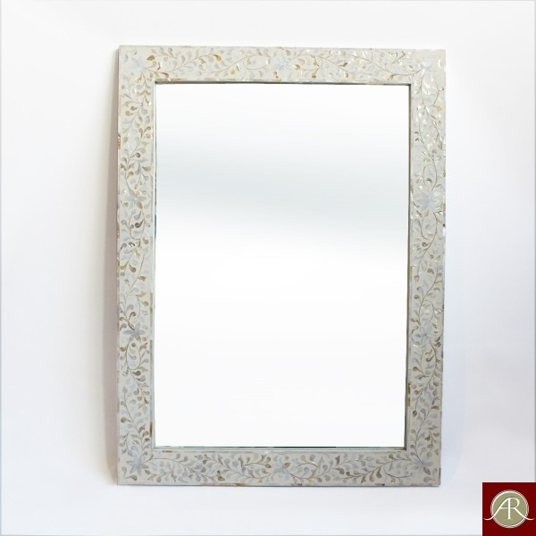 Handmade Antique Style Mother of Pearl Inlay Wall Mirror