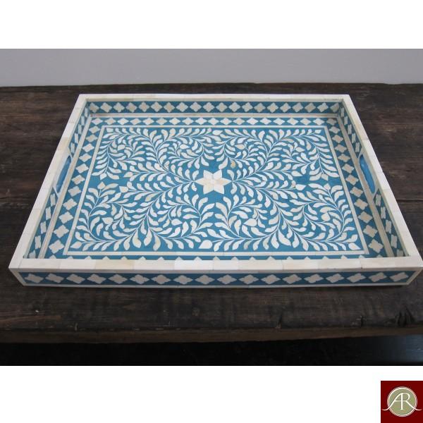 Bone Inlay Floral Blue Decorative Tray