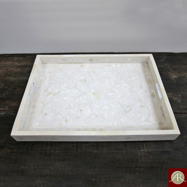 Bone Inlay Flower Pattern Tray White Color