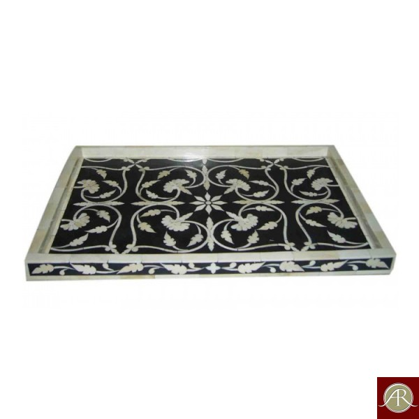 Bone Inlay Floral Black Decorative Tray