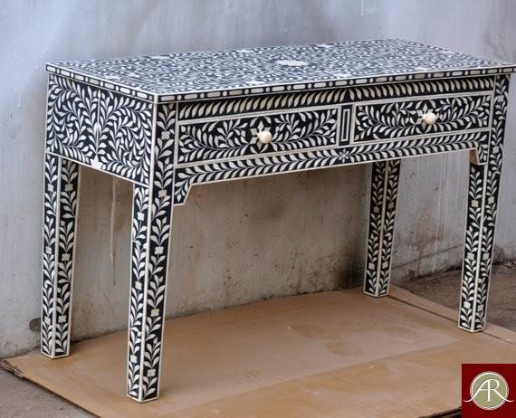 Handmade Bone Inlay Black Console Table
