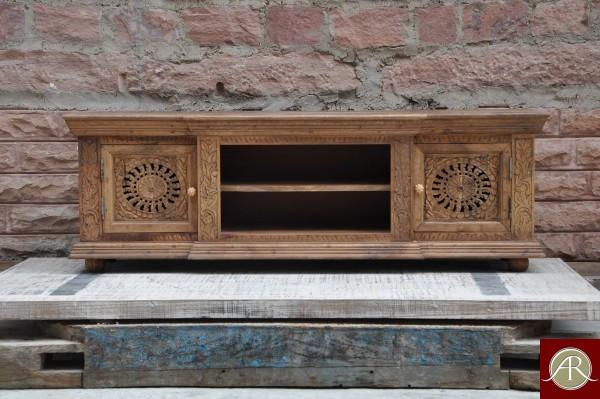 Reclaimed Wood carved T.V Unit