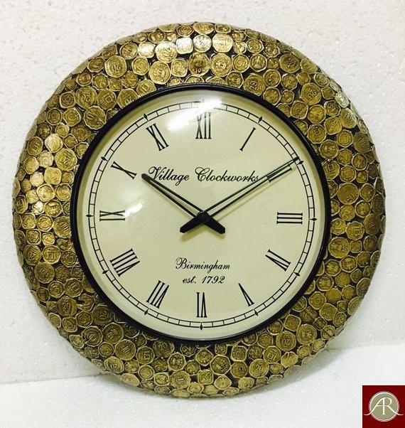 "18"" Antique Coin Antique Wall Clock,(Antique Gold)"
