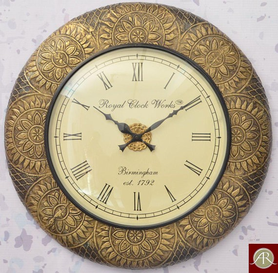 "18"" Antique Brass Clock Handcrafted Wall Clock Metal wall clock"