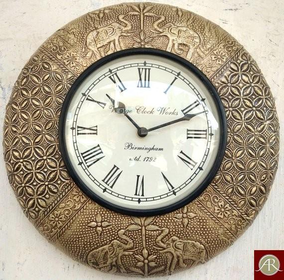 "12"" Antique Brass Clock Handcrafted Wall Clock"