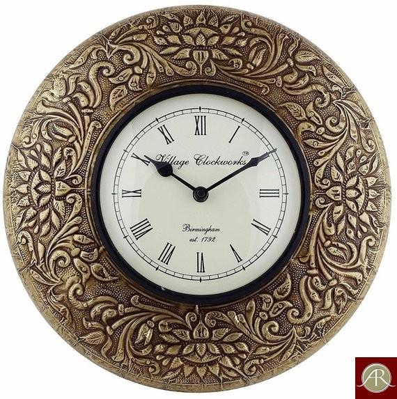"12"" Antique Brass Clock Metal wall clock Decorative Wooden Wall Clock"