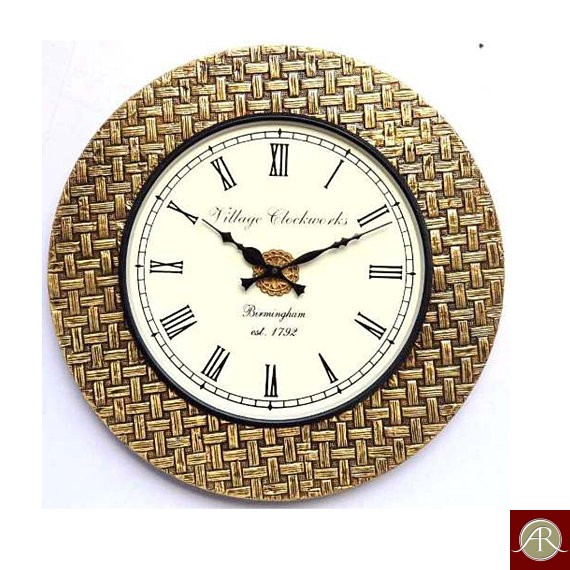 "18"" Antique Brass Clock Handcrafted Wall Clock Metal wall clock Decorative Wooden Wall Clock"