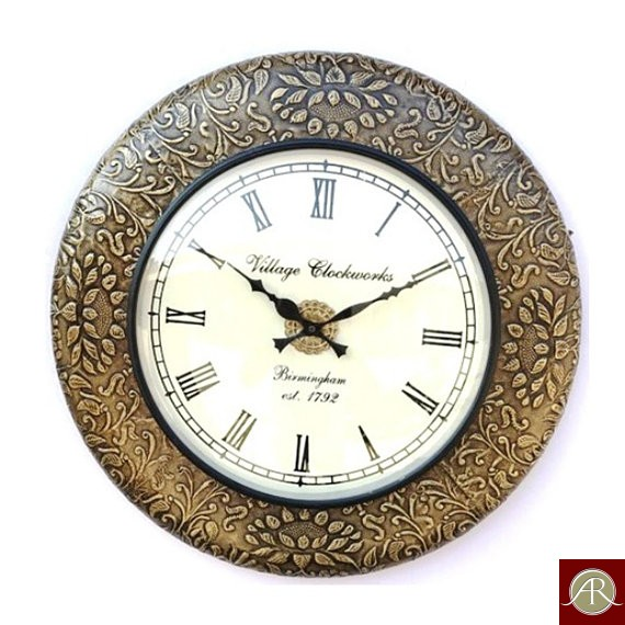 """18"""" Antique Brass Clock by Handcrafted Wall Clock"""