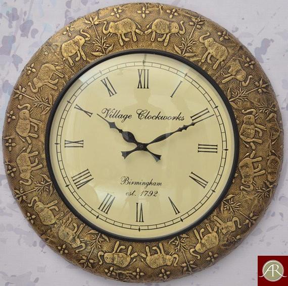 "18"" Antique Brass Clock Handcrafted Wall Clock/Metal wall clock/Decorative Wooden Wall Clock"