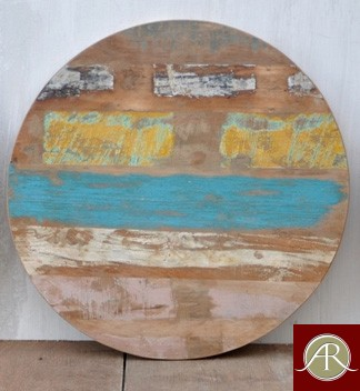Round Reclaimed wood multi color Table Top