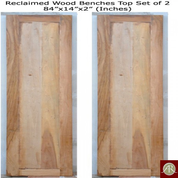 Reclaimed Wood Benches Top Set of 2
