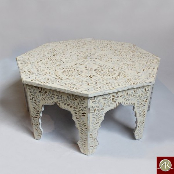 Mother Of pearl Inlay Wooden Modern Antique Handmade Coffee Table