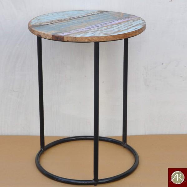 Handmade Solid Reclaimed Rustic Burn Wood Metal Base Side End Table-Stool