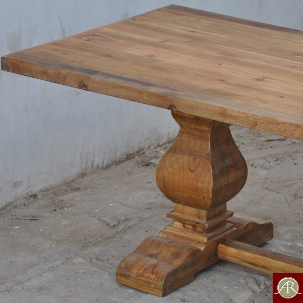 """96"""" Long Dining Table natural finish antique Reclaimed solid wood Trestle base"""
