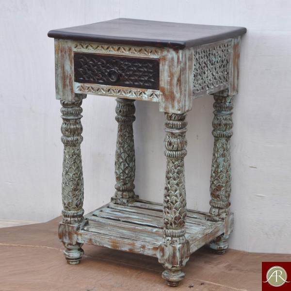 Antique Finished Reclaimed Rustic Wood 4 Carved Legs bedside, End-Side Table Nightstand