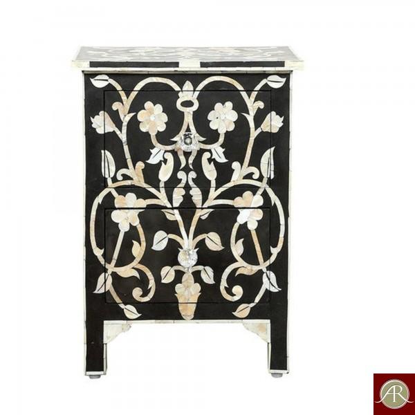Bone Inlay Antique Handmade Modern Bedside