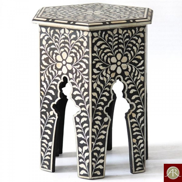 Bone Inlay Wooden Modern Antique Handmade Stool
